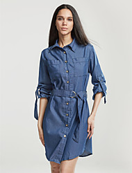 cheap -Women's Solid Vintage Street chic Classics Large Size Cotton Dress,Plus Size / Casual / Day
