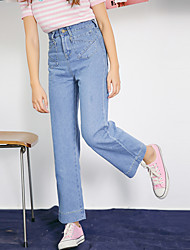 2017 spring models Korean students in nine high waist wide leg pants harem BF wind was thin casual jeans female