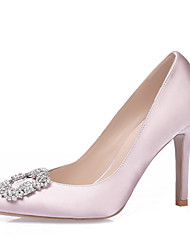 cheap -Women's Shoes Silk Spring Summer Heels Stiletto Heel Pointed Toe Rhinestone Sparkling Glitter for Wedding Casual Outdoor Office & Career