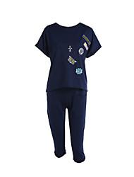 baratos -Mulheres Tamanhos Grandes Blusa Conjunto - Estampado