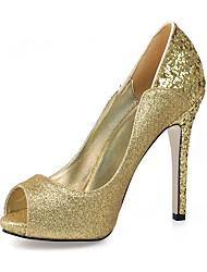 sapatos clube saltos de verão festa de casamento sintética&vestido de noite ouro negro