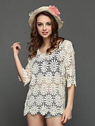 Tee-shirt Femme,Couleur Pleine Plage Vacances Mignon Chic de Rue Printemps Eté ½ Manches Col Arrondi Beige Polyester Transparent