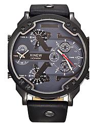 Недорогие -Муж. Спортивные часы Армейские часы Наручные часы Кварцевый Календарь С двумя часовыми поясами Cool Кожа Группа Аналоговый Кулоны Винтаж На каждый день Черный / Синий / Коричневый -  / Два года