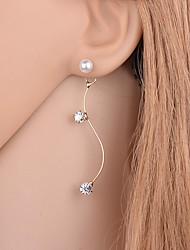 abordables -Pendientes cortos Cristal Perla Brillante La imitación de diamante Legierung Dorado Plata Joyas Diario Casual 1 par