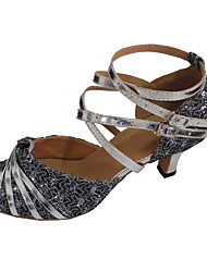 Scarpe da ballo-Personalizzabile-Da donna-Balli latino-americani-Tacco su misura-Vernice Brillantini-Argento