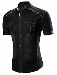 cheap -Men's Casual Cotton Shirt - Solid Colored / Please choose one size larger according to your normal size. / Short Sleeve