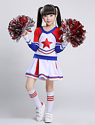 cheap -Cheerleader Costumes Outfits Performance Cotton Splicing Long Sleeves Natural Top Skirt