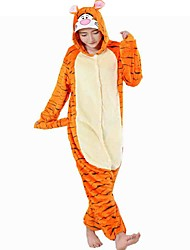 Pyjama Kigurumi  Tiger Combinaison Pyjamas Costume Flanelle Toison Orange Cosplay Pour Adulte Pyjamas Animale Dessin animé Halloween Fête