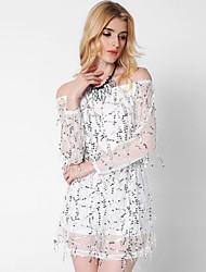 Ample Robe Femme Sortie Décontracté / Quotidien Sexy,Couleur Pleine Bateau Mini Manches Longues Blanc Beige Noir Polyester Printemps Eté