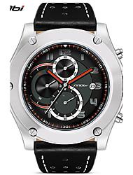 baratos -SINOBI Homens Relógio Esportivo / Relógio de Pulso Calendário / Impermeável / Resistente ao Choque Couro Banda Luxo / Casual Preta / Cáqui / Cronômetro