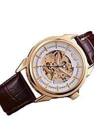 cheap -Men's Skeleton Watch / Mechanical Watch Genuine Leather Band Brown / Automatic self-winding
