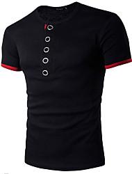Hombre Simple Casual/Diario Verano Camiseta,Escote Redondo Un Color Estampado Bloques Manga Corta Algodón Azul Rojo Negro Gris Multicolor