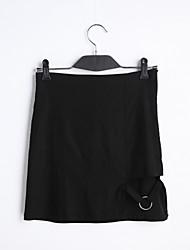 Röcke,A-Linie einfarbigLässig/Alltäglich Einfach Mittlere Hüfthöhe Mini Reisverschluss Baumwolle Unelastisch Riemengurte Sommer