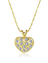 Femme Pendentif de collier Colliers chaînes Zircon cubique Forme de Coeur Zircon Plaqué or Alliage Basique Original Pendant Amour Cœur