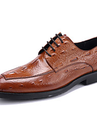 cheap -Men's Shoes Leather Cowhide Spring Fall Formal Shoes Wedding Shoes For Wedding Party & Evening Office & Career Black Brown Burgundy