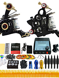 Complete Tattoo Kit 2 Pro Machine Power Supply Foot Pedal Needles TK229