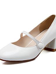 Недорогие -Белый Черный Телесный-Для женщин-Для офиса Для праздника Повседневный-Полиуретан-На толстом каблуке Блочная пяткаОбувь на каблуках