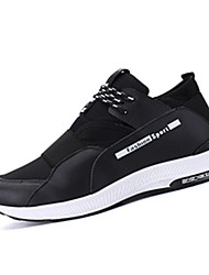Running Shoes Men's Athletic Shoes Spring Fall Comfort PU Outdoor Athletic Flat Heel Sequin Lace-up Black White