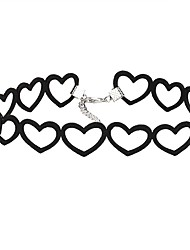 cheap -Heart Lace Choker Necklace  -  Vintage Euramerican Black Necklace For Party Birthday Daily
