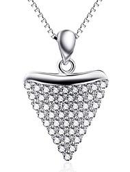 Кулоны Стерлинговое серебро Стразы Базовый дизайн Сердце Серебряный Бижутерия Повседневные 1шт