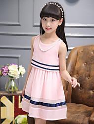 baratos -Menina de Vestido Listrado Verão Poliéster Sem Manga