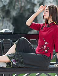 знак 2017 года весной и летом новые брюки широкие ноги вышитые китайский стиль изогнутые слаксы пищевым отходам