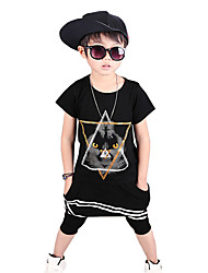 Boy's Fashion Going out Casual/Daily/Sports Print Cotton Summer Short Sleeve Middle Pants 2 Piece Clothing Set Children's Garments