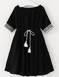 cheap -Girl's Solid Dress, Linen Summer Half Sleeves Black Beige