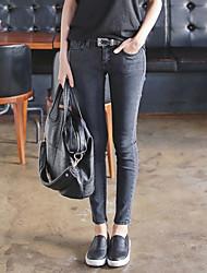modelos primavera coreano cinza escuro calças de cintura apertada magros era esticar fina calças pés calça jeans feminina
