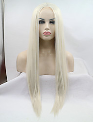 cheap -Synthetic Lace Front Wig Straight Middle Part Heat Resistant Natural Hairline Blonde Women's Lace Front Carnival Wig Halloween Wig Long