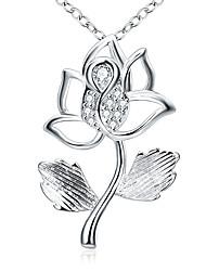 Femme Pendentif de collier Colliers chaînes Zircon cubique Forme de Fleur Rose Zircon Cuivre Plaqué argentBasique Original Pendant Cœur