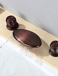 Moderno A 3 fori Cascata Separato with  Valvola in ceramica Tre Due maniglie Tre fori for  Bronzo lucidato , Lavandino rubinetto del bagno