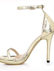 baratos -Feminino-Sandálias-Conforto Light Up Shoes-Salto Agulha-Preto Dourado-Couro Ecológico-Casamento Social Festas & Noite