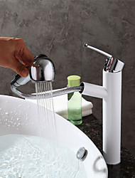cheap -Art Deco/Retro Modern Centerset Pullout Spray Ceramic Valve One Hole Single Handle One Hole Chrome , Bathroom Sink Faucet