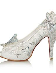 baratos -Mulheres Sapatos Glitter Tecido Primavera Verão Inovador Sandálias Salto Agulha Peep Toe Laço Gliter com Brilho para Casamento Festas &