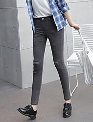 2017 spring new Korean female jeans patch hole stretch Slim thin nine feet pencil pants