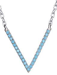 Недорогие -Ожерелья-цепочки Одинарная цепочка Стерлинговое серебро Бирюза Базовый дизайн Бижутерия Назначение Повседневные