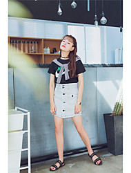 Sign retro minimalist open wire decoration thin single-breasted denim skirts A word skirt