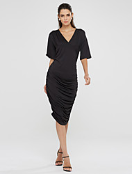 cheap -Women's Sexy / Party / Cocktail Solid Plus Size Dress , Deep V Midi Cotton