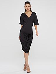 Robe Aux femmes Grandes Tailles Sexy / Soirée , Couleur Pleine V Profond Midi Coton