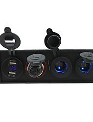 Недорогие -12v / 24v 3.1a USB portcigarette зажигалка socketpower гнездо и вольтметр с держателем корпус панель для автомобиля лодки грузовик с.в.