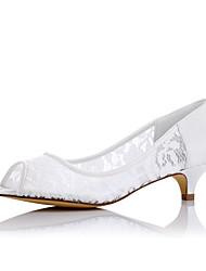 preiswerte -Flache Schuhe-Hochzeit Kleid Party & Festivität-Stoff-Niedriger Absatz-Komfort-Weiß