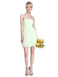 Sheath / Column Strapless Sweetheart Short / Mini Chiffon Bridesmaid Dress with Draping Criss Cross by LAN TING BRIDE®