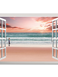 cheap -3D Wall Stickers Wall Decals Style Pink Beach Girl PVC Wall Stickers