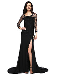 cheap -A-Line Jewel Neck Court Train Chiffon Lace Formal Evening Dress with Beading Appliques Split Front by TS Couture®
