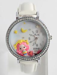 baratos -Mulheres Relógio de Moda / Silicone Banda Casual / Desenho Preta / Branco / Azul