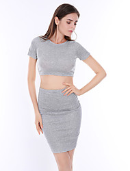 cheap -Women's Daily Going out Beach Casual Sexy Street chic Summer T-shirt Skirt Suits,Solid Round Neck Short Sleeve Polyester