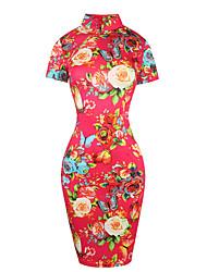 Moulante Robe Femme Soirée / Cocktail Sexy Vintage,Fleur Col Roulé Mi-long Manches Courtes Bleu Rouge Coton Polyester Eté Taille Haute