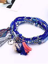 cheap -5pcs/set Bohemia Seed Bead Tassels Handmade Coloured Woven Friendship Strand Charm Bracelet Set