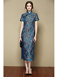 I-YECHO Women's Party/Cocktail Holiday Sexy Cute Chinoiserie A Line DressPrint Stand Midi Short Sleeve Blue Polyester Spring Summer Mid Rise